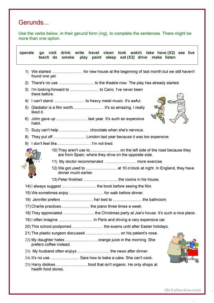 Verb + Gerund Review - ESL worksheets