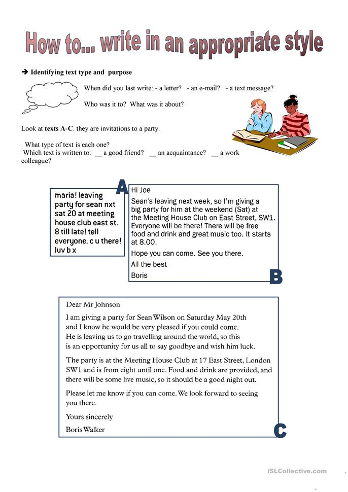 Writing series: How to... write in an... - ESL worksheets