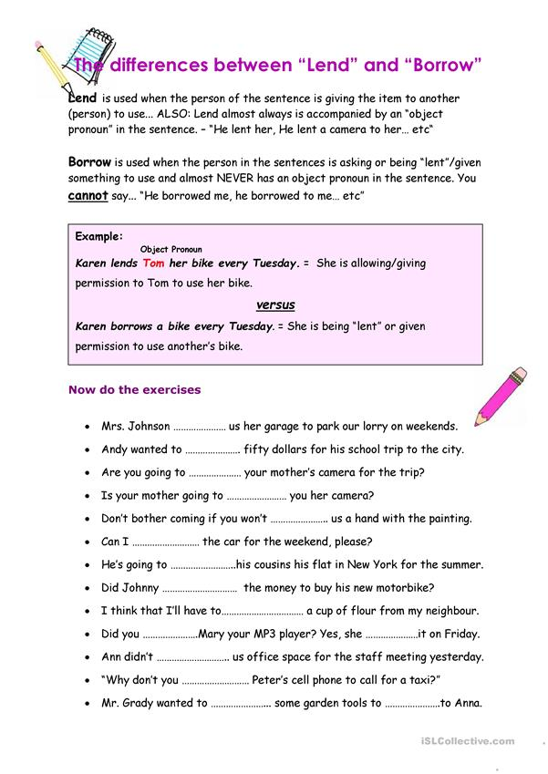 Lend And Borrow Worksheet Free Esl Printable Worksheets Made By