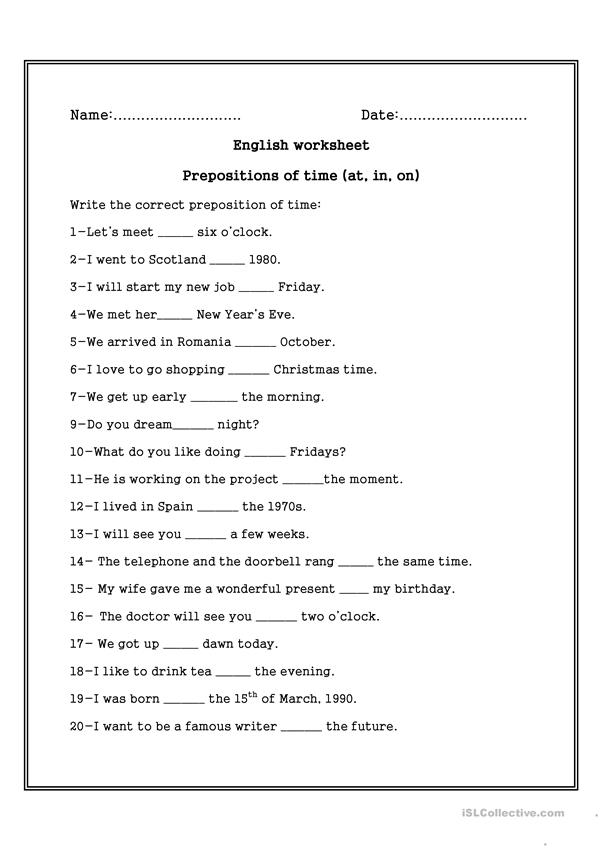 prepositions of time on in at worksheet free esl printable worksheets made by teachers. Black Bedroom Furniture Sets. Home Design Ideas