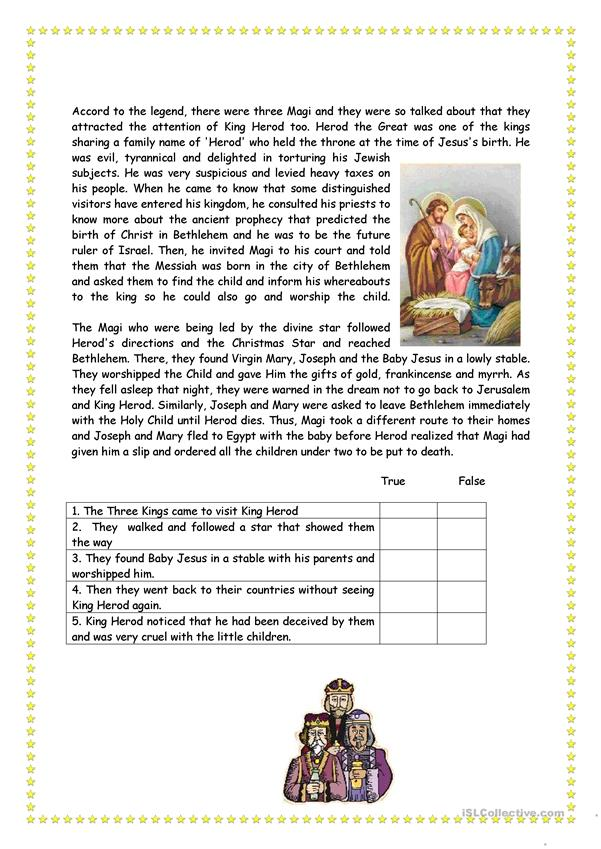 The three Kings - English ESL Worksheets for distance ...