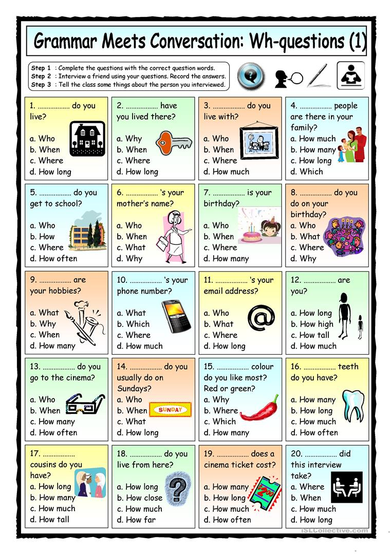 grammar meets conversation wh questions 1 getting to know you worksheet free esl. Black Bedroom Furniture Sets. Home Design Ideas