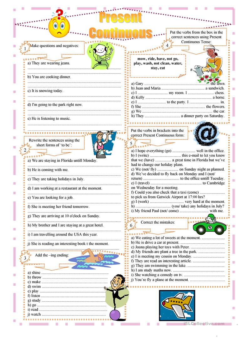 Present Continuous exercises worksheet - Free ESL printable ...