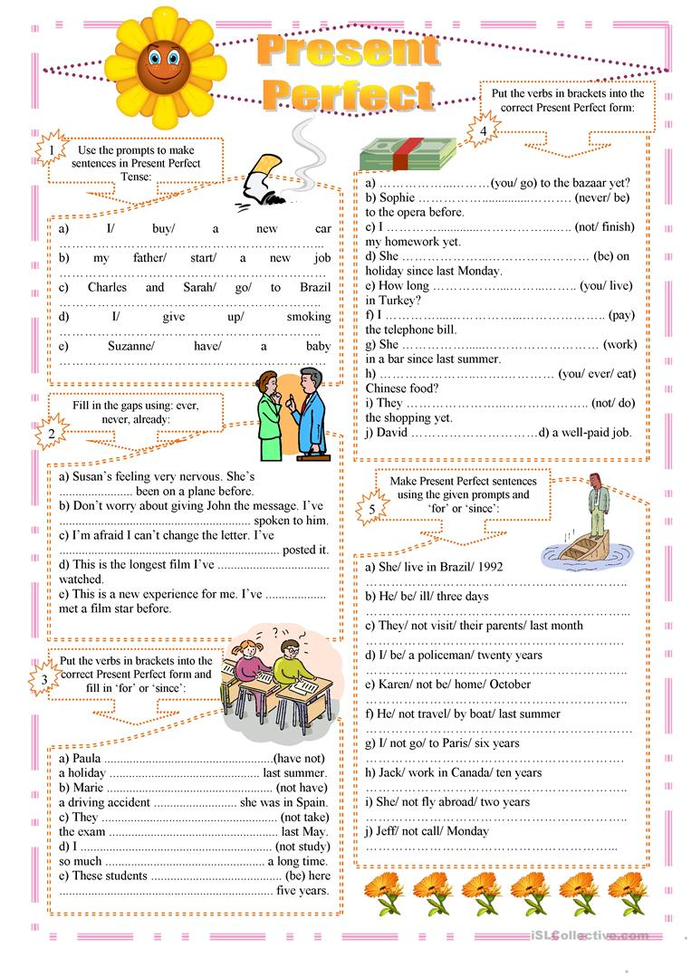 Workbooks past and present tense worksheets : 82 FREE ESL Present perfect tense: FOR or SINCE worksheets