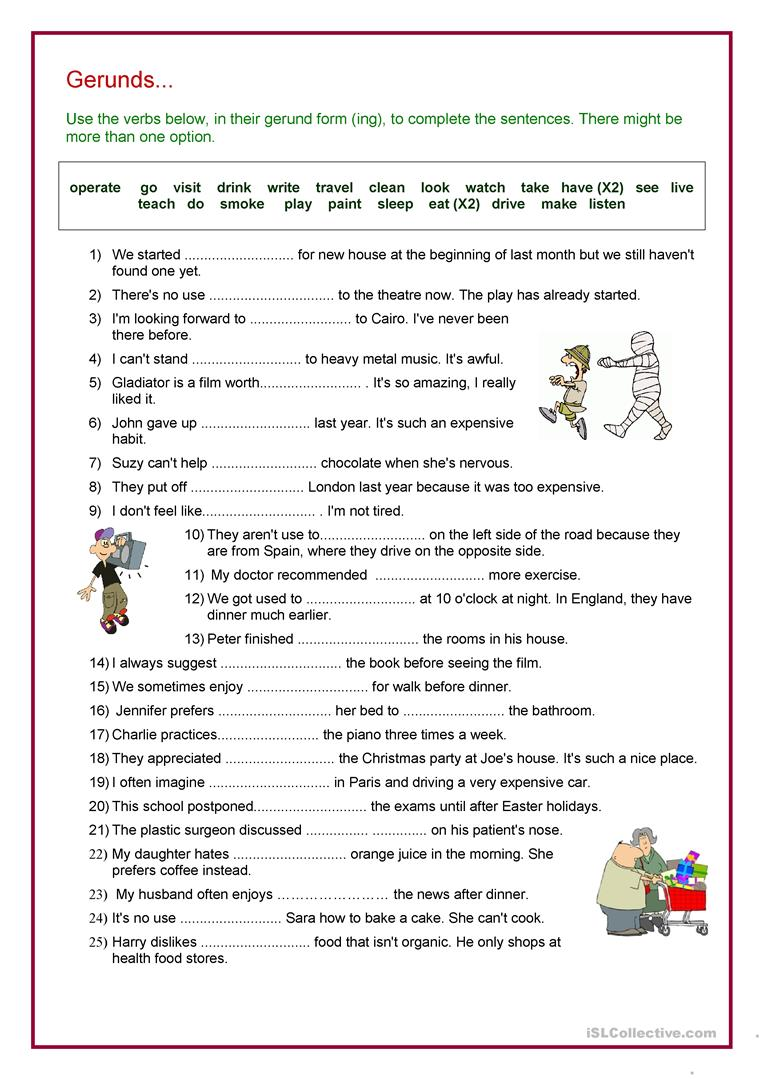 worksheet Gerunds And Infinitives Worksheets 73960 free esl efl worksheets made by teachers for verb gerund review