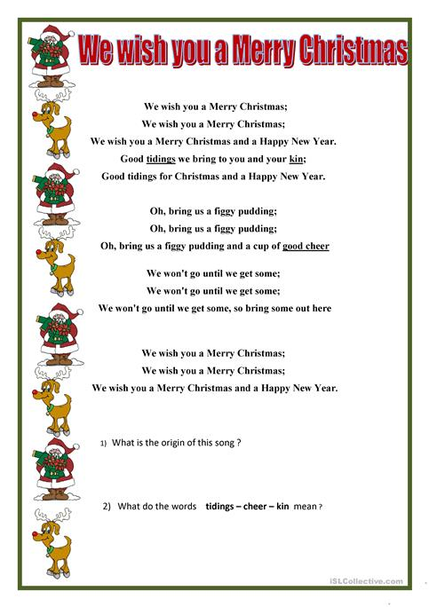 image relating to Words to We Wish You a Merry Christmas Printable known as We want your self a Merry Xmas worksheet - Absolutely free ESL printable