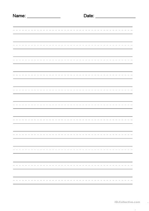 Writing Dotted Line Template Worksheet  Free Esl Printable