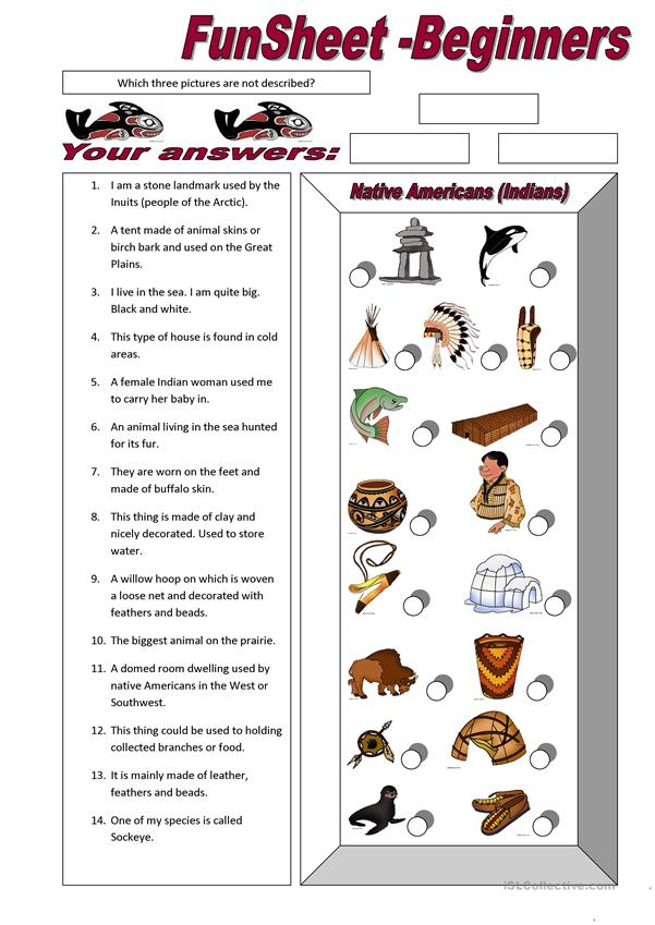 FunSheet for Beginners: Native Americans (Indians)