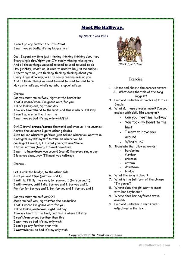 Meet Me Halfway by Black Eyed Peas - Song Worksheet