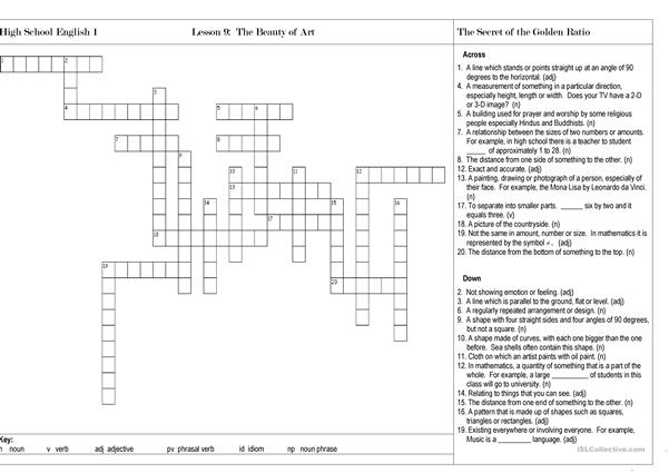 The Beauty of Art Crossword Puzzle