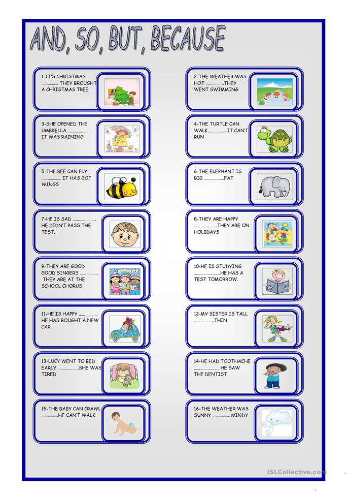 AND,SO, BUT, BECAUSE worksheet - Free ESL printable worksheets made by ...