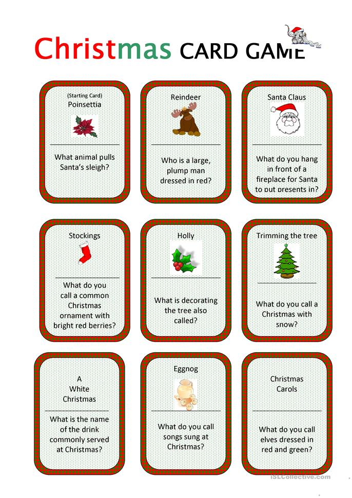 Christmas Card Game - ESL worksheets