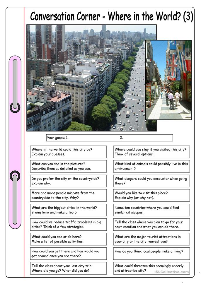 Conversation Corner: Where in the World? (3) - The city - ESL worksheets