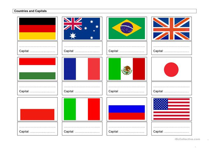 Countries and Capitals - ESL worksheets