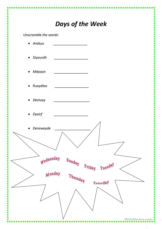 Exhilarating image throughout free printable days of the week worksheets