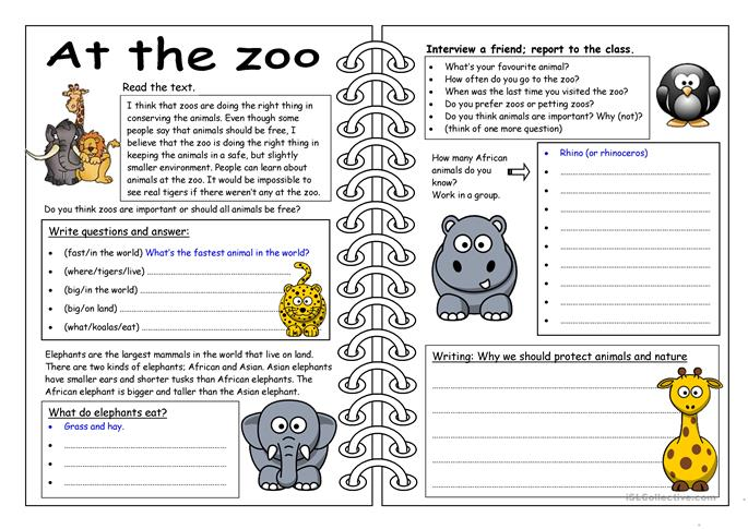 Four Skills Worksheet: At the Zoo worksheet - Free ESL ...