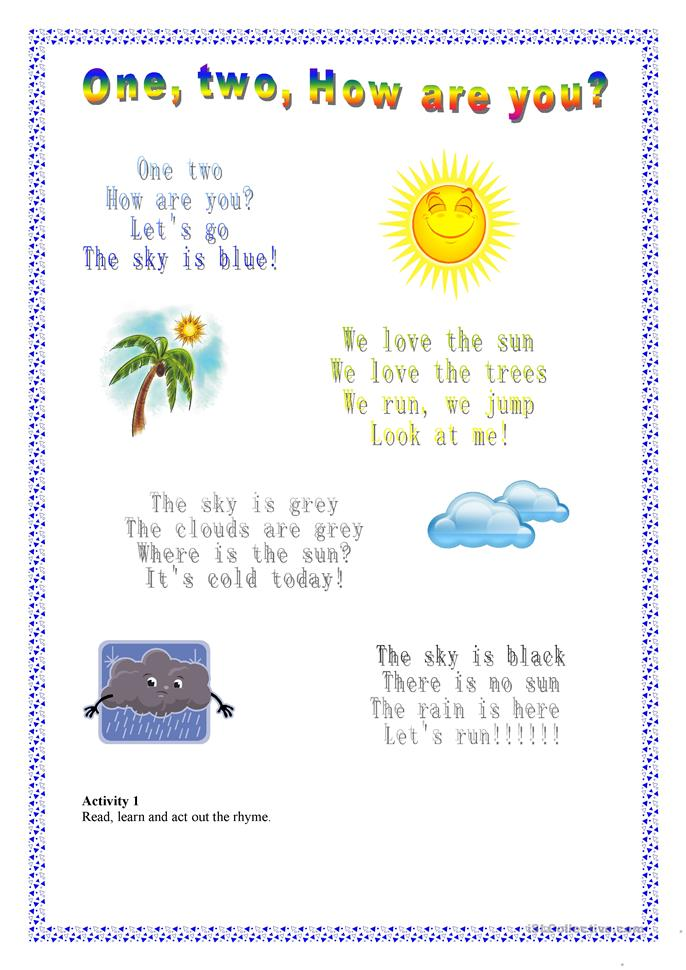 One, two, How are you? - ESL worksheets