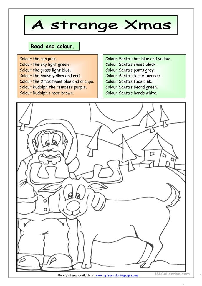 Read and Colour: A Strange Xmas - ESL worksheets
