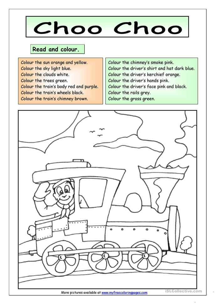 Printables Read And Color Worksheets 55 free esl coloring worksheets read and colour choo choo