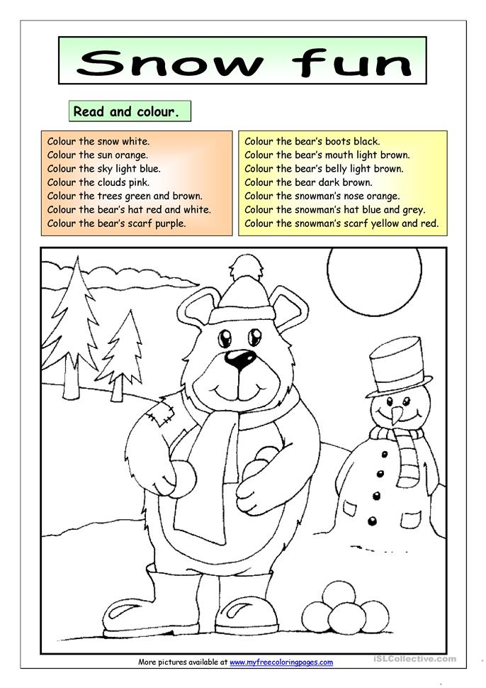 read and colour snow fun worksheet free esl printable worksheets made by teachers. Black Bedroom Furniture Sets. Home Design Ideas