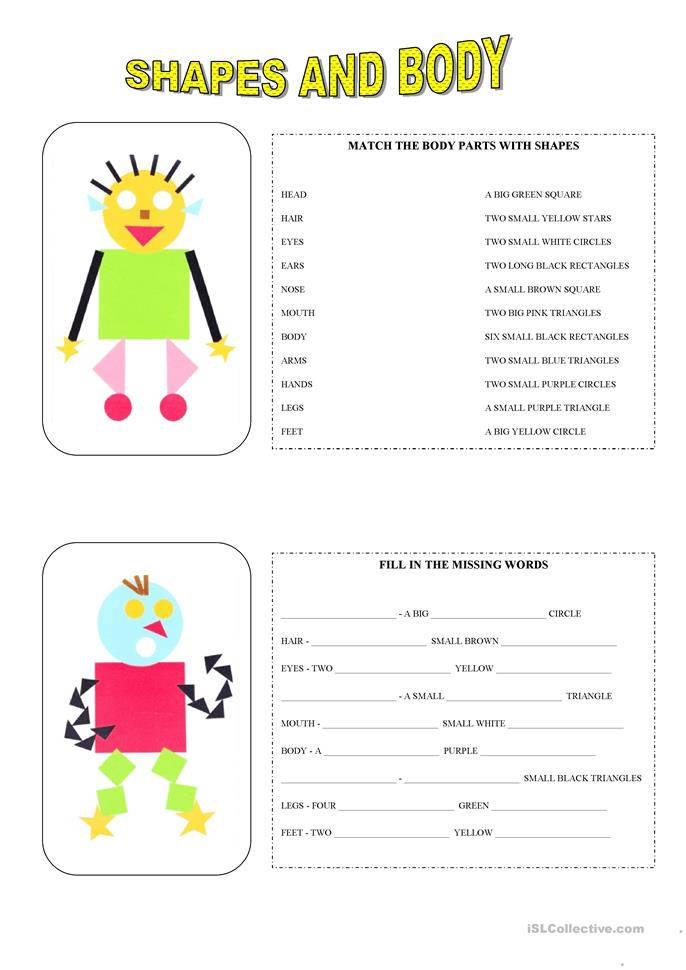 Shapes and body - ESL worksheets