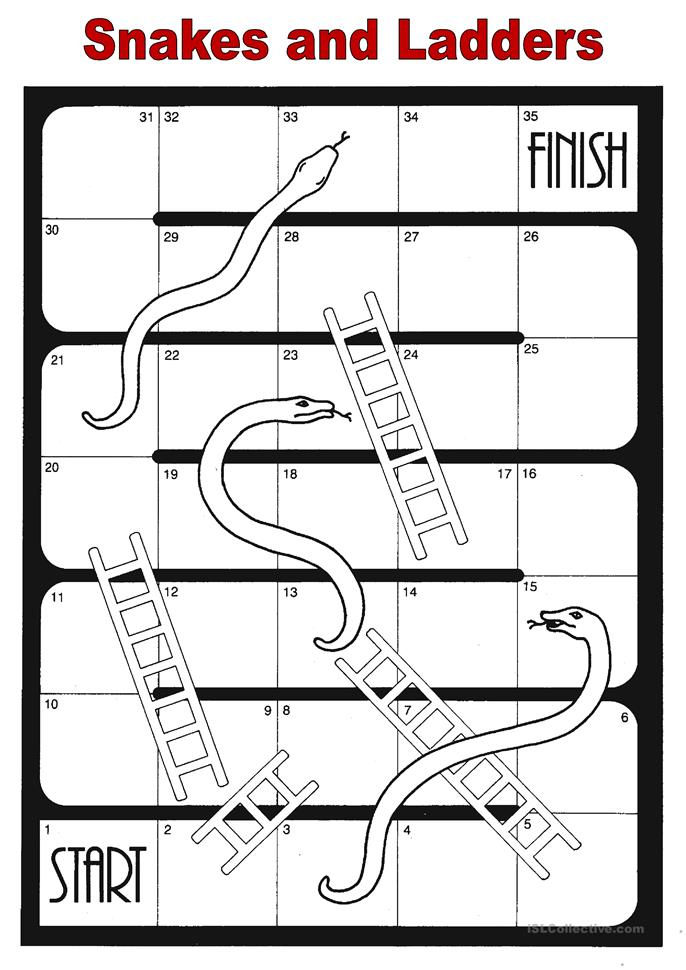 14 free esl snakes and ladders worksheets for Snakes and ladders printable template