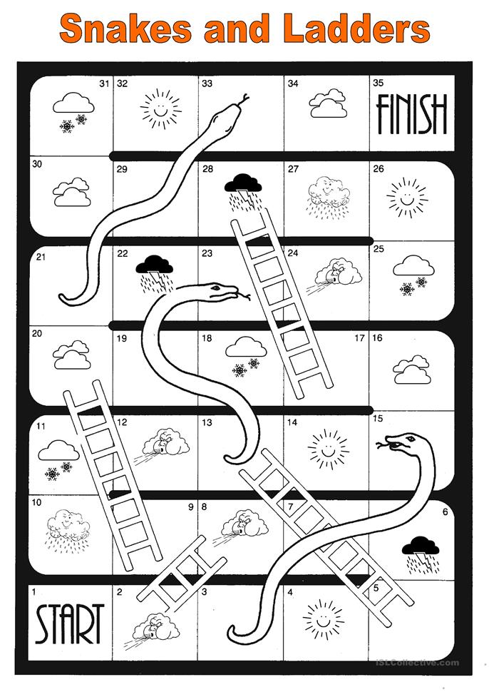 Snakes and ladders - ESL worksheets