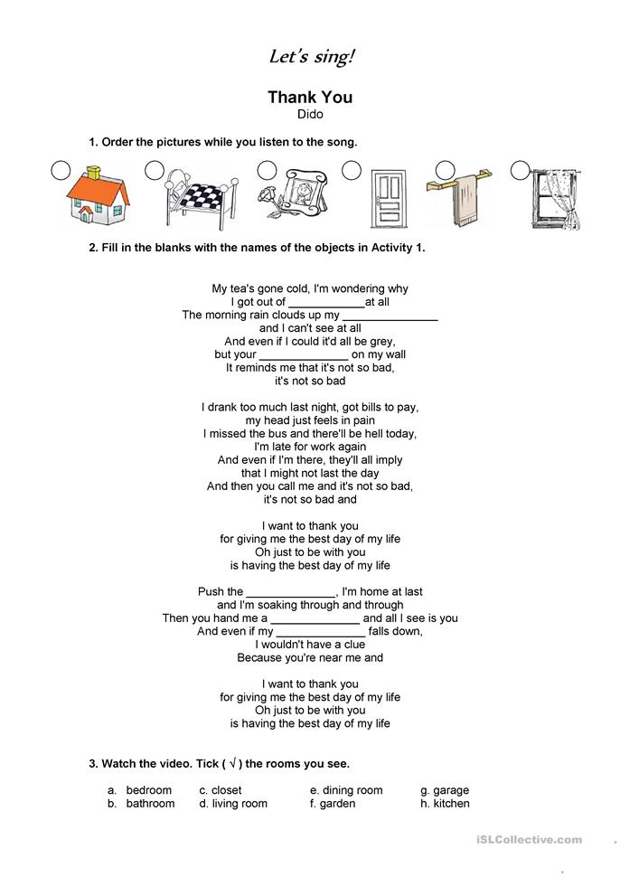 Song Thank You - Dido - ESL worksheets