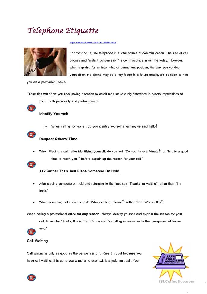 Telephone Etiquette - ESL worksheets