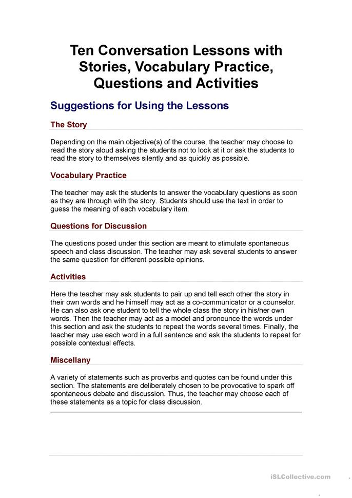Ten Conversation lessons with stories - ESL worksheets
