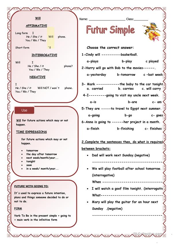 Future Simple - English ESL Worksheets For Distance Learning And Physical  Classrooms