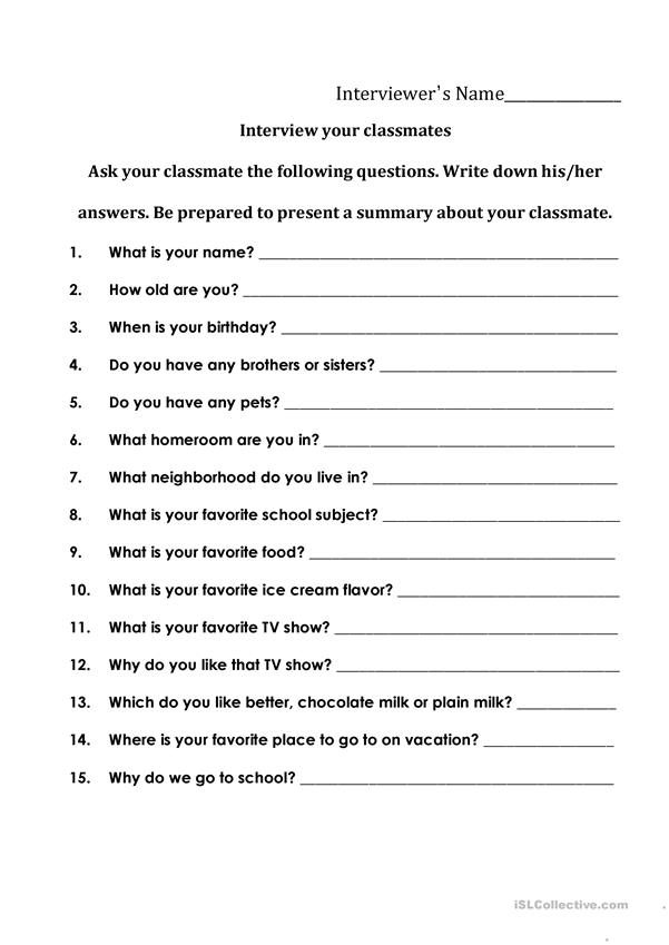 Interviewing Your Classmates English Esl Worksheets