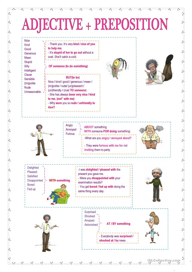 adjectives with prepositions exercises pdf