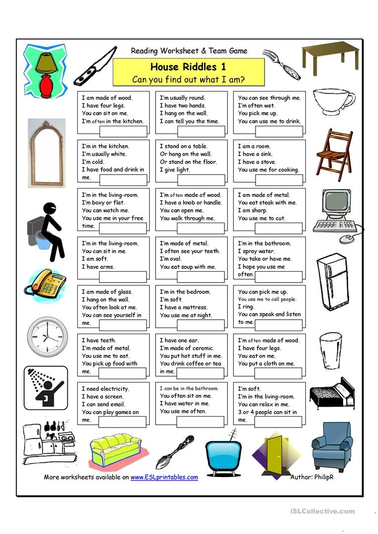 picture about Printable Riddles for Kids identified as Room Riddles (1) - Simple - English ESL Worksheets