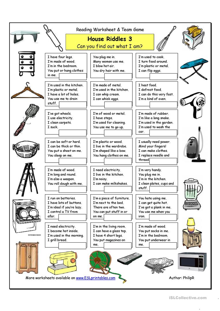 house riddles 3 hard worksheet free esl printable worksheets made by teachers. Black Bedroom Furniture Sets. Home Design Ideas