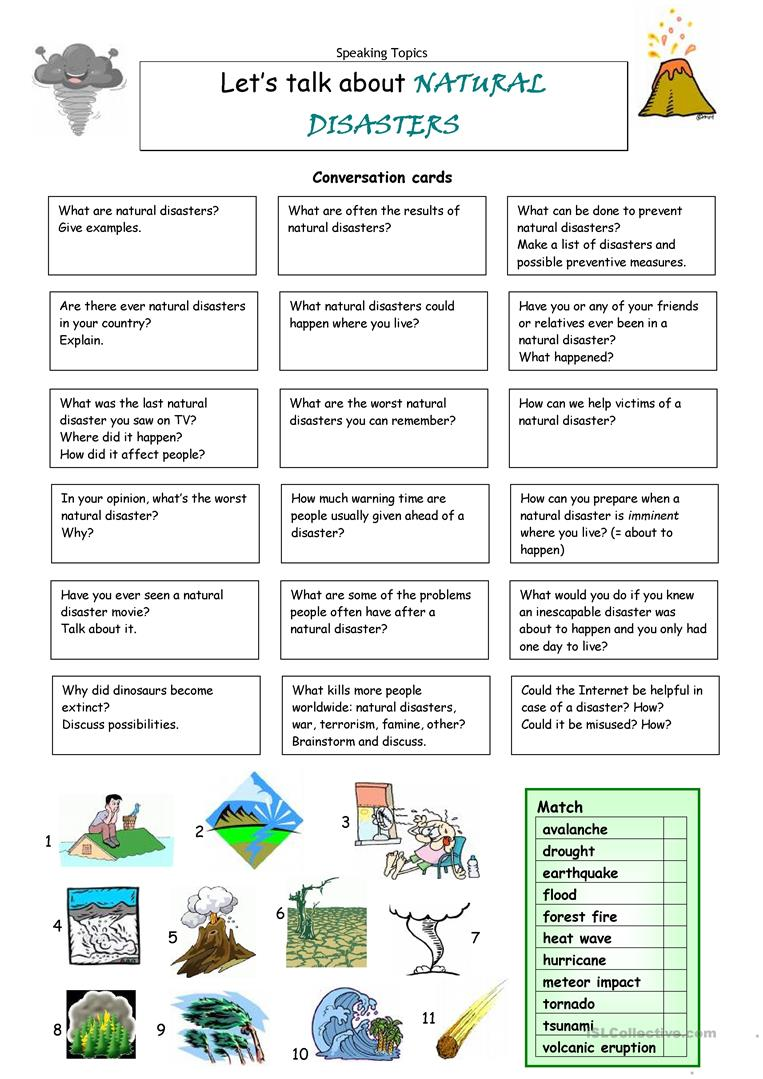 15 FREE ESL earthquake worksheets