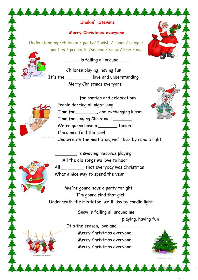 59 FREE ESL christmas song worksheets