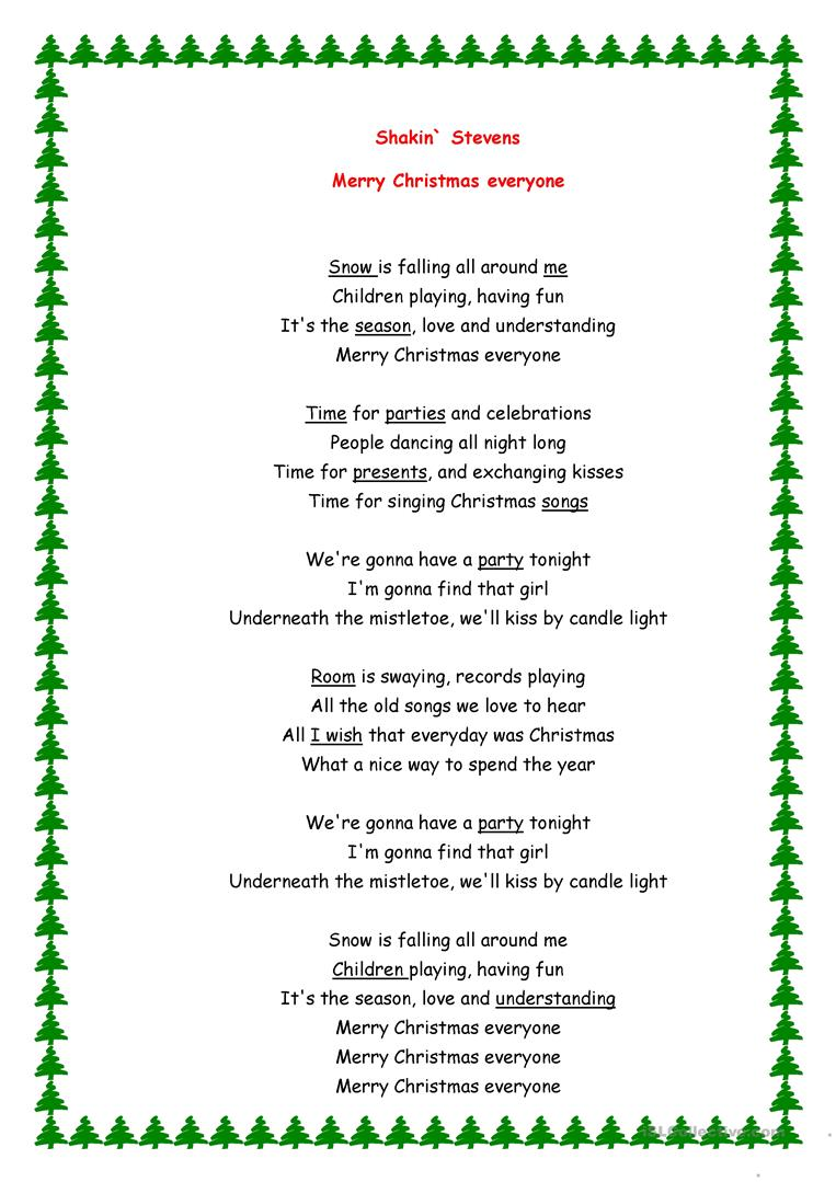 Merry Christmas everyone song worksheet - Free ESL printable ...