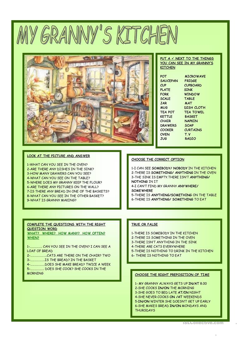 My Granny S Kitchen English Esl Worksheets For Distance Learning And Physical Classrooms