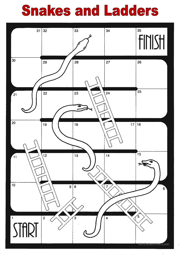 Snakes and ladders worksheet free esl printable for Make your own snakes and ladders template