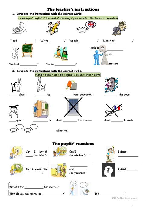 Classroom English Worksheet Free Esl Printable Worksheets Made By