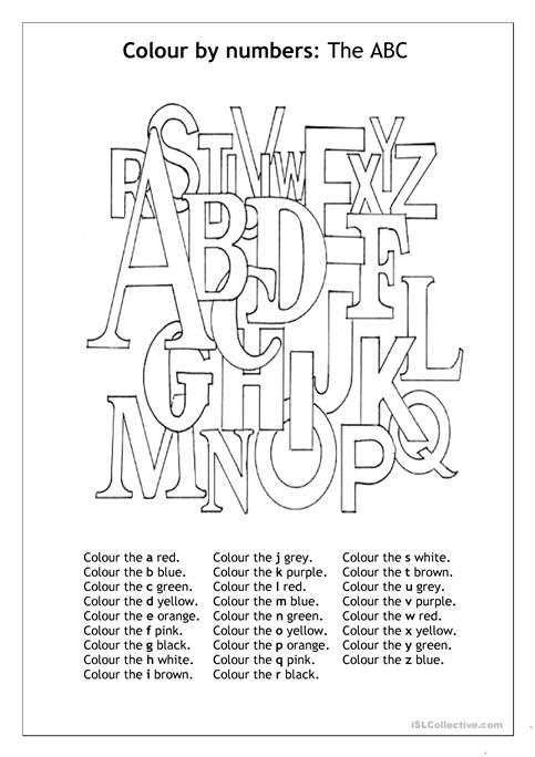 Colour By Number The Abc Worksheet Free Esl Printable Worksheets