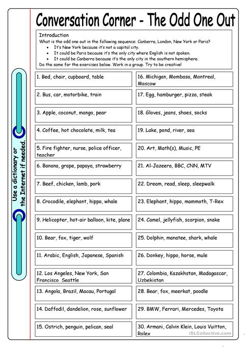 Conversation Corner The Odd One Out Worksheet Free Esl Printable