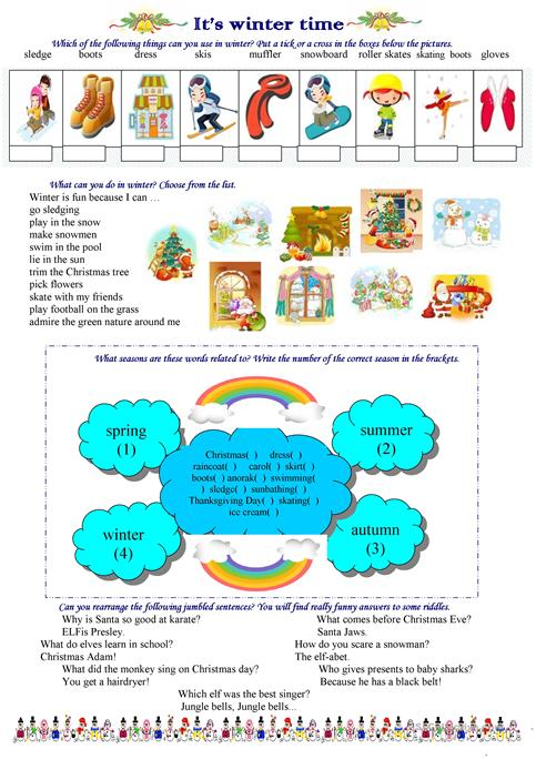 It\'s winter time worksheet - Free ESL printable worksheets made by ...