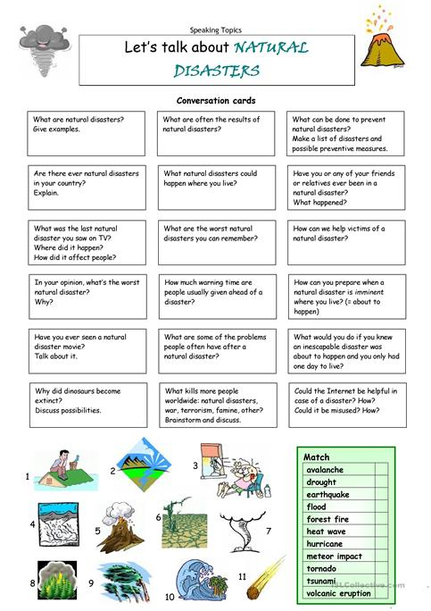 Lets Talk About Natural Disasters Worksheet Free Esl Printable