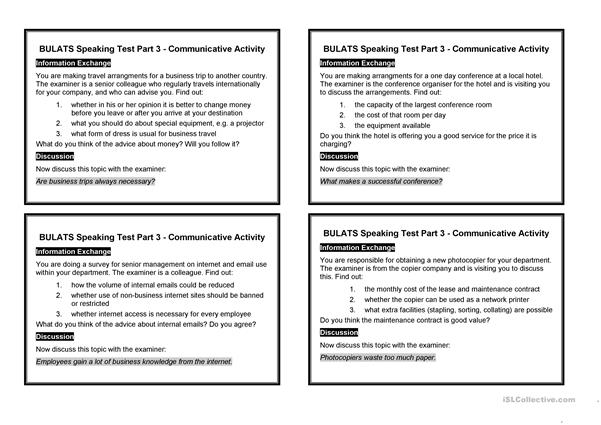 BULATS Speaking Test Part 3 - communicative activity