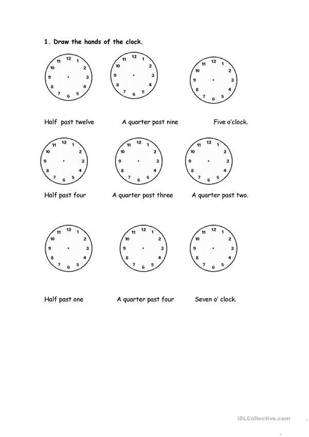 Draw the hands of the clocks