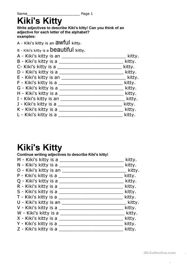 kikis Kitty Adjectives