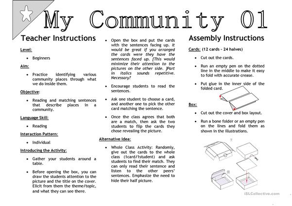 My Community 01 [Sentenc Matching Activity Cards]