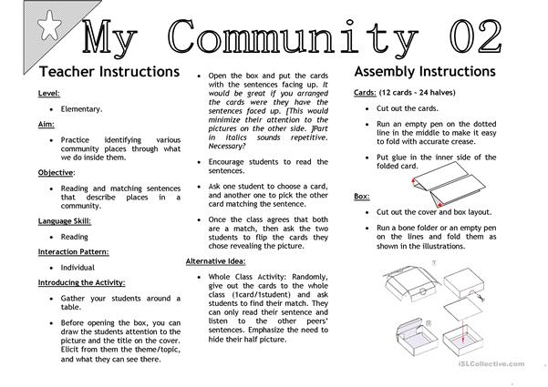 My Community 02 [Sentenc Matching Activity Cards]